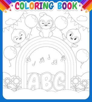 Kleurboek voor kinderen happy penguins on rainbow sky garden