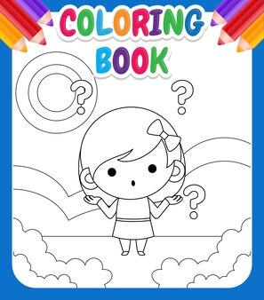 Kleurboek voor kinderen. illustratie schattig klein meisje in de war