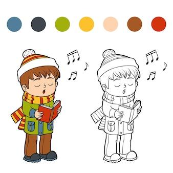 Kleurboek voor kinderen, jongen die een kerstlied zingt