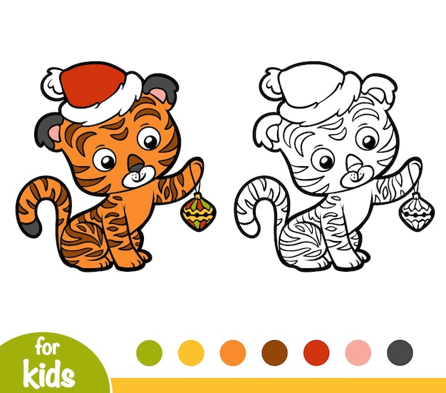Kleurboek voor kinderen, kersttijger