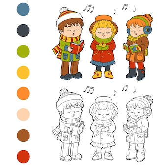 Kleurboek voor kinderen, kids christmas choir