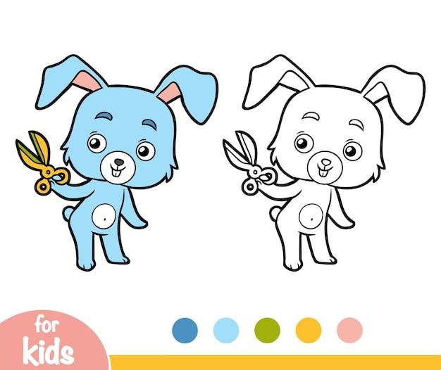 Kleurboek voor kinderen, konijn en schaar