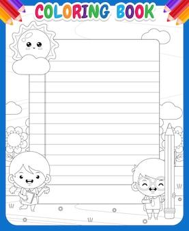 Kleurboek voor kinderen. leuke student bij buiten met grote schoolkrant