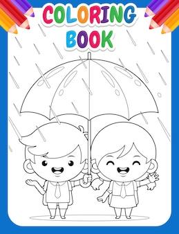 Kleurboek voor kinderen leuke studenten onder paraplu tijdens regenweer Premium Vector