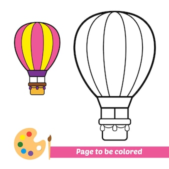 Kleurboek voor kinderen luchtballon vector