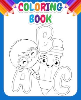 Kleurboek voor kinderen met cartoon schattig meisje bedrijf potlood met alfabet
