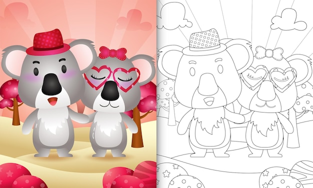 Kleurboek voor kinderen met een schattig koalapaar als thema valentijnsdag