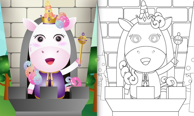 Kleurboek voor kinderen met een schattig koningseenhoorn-personage