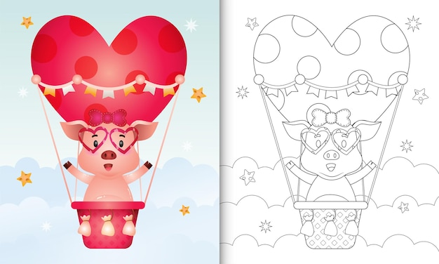 Kleurboek voor kinderen met een schattig varken vrouwtje op hete luchtballon liefde thema valentijnsdag