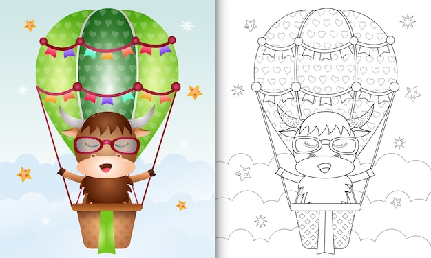 Kleurboek voor kinderen met een schattige buffel op hete luchtballon