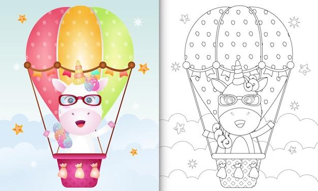 Kleurboek voor kinderen met een schattige eenhoorn op hete luchtballon