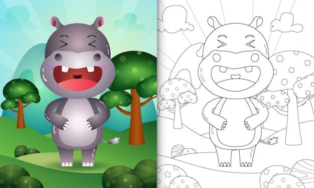 Kleurboek voor kinderen met een schattige illustratie van het nijlpaardkarakter