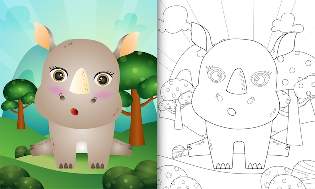 Kleurboek voor kinderen met een schattige neushoorn karakter illustratie
