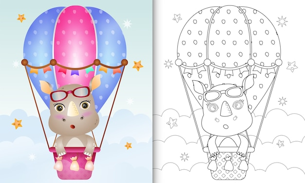 Kleurboek voor kinderen met een schattige neushoorn op hete luchtballon