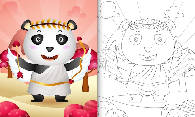 Kleurboek voor kinderen met een schattige panda-engel met valentijnsdag met cupido-kostuum als thema