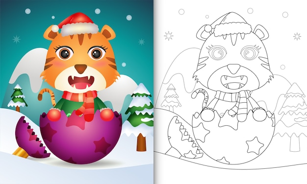 Kleurboek voor kinderen met een schattige tijger met kerstmuts en sjaal in kerstbal