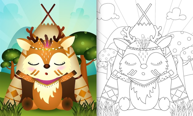 Kleurboek voor kinderen met een schattige tribal boho herten karakter illustratie