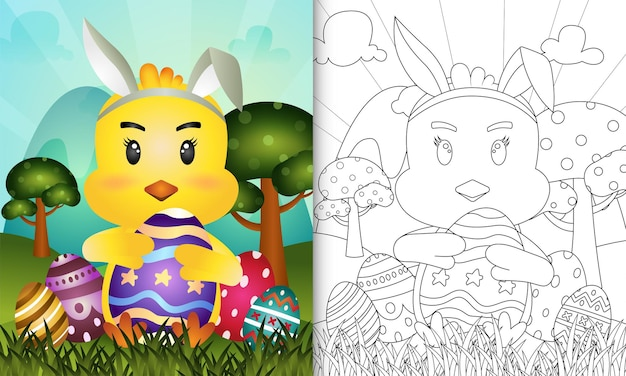 Kleurboek voor kinderen met pasen als thema met een schattig kuiken met konijnenoren