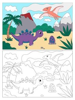 Kleurboek voor kinderen met schattige dinosaurussen