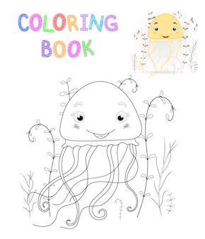 Kleurboek voor kinderen met tekenfilm dieren.