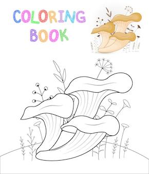 Kleurboek voor kinderen met tekenfilmdieren. educatieve taken voor kleuters schattige paddestoelen.