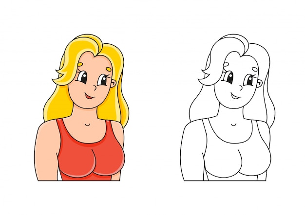 Kleurboek voor kinderen. mooie lachende jonge vrouw.