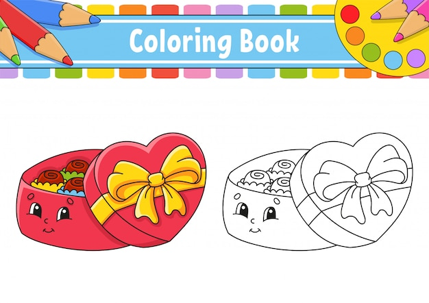 Kleurboek voor kinderen. open geschenkdoos met chocolaatjes. stripfiguur.