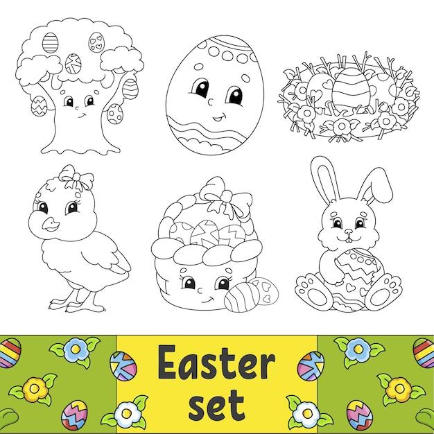 Kleurboek voor kinderen pasen clipart