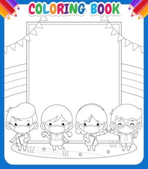 Kleurboek voor kinderen. student met medisch masker op grote banner