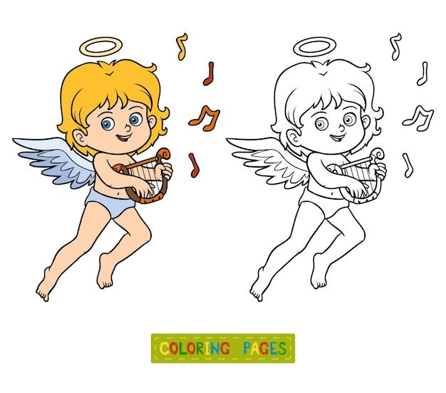 Kleurboek voor kinderen, valentijnsdag karakter, engel