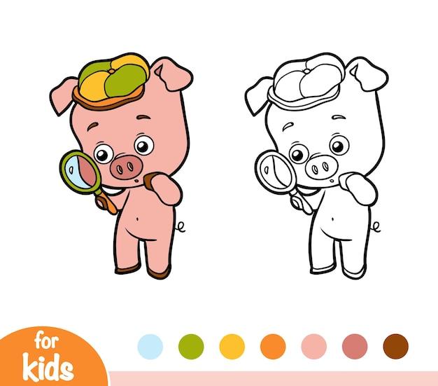 Kleurboek voor kinderen, varken met een vergrootglas
