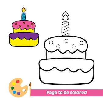 Kleurboek voor kinderen verjaardagstaart vector
