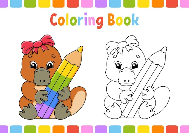 Kleurboek voor kinderen vogelbekdier