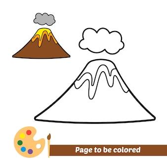 Kleurboek voor kinderen vulkaan vector