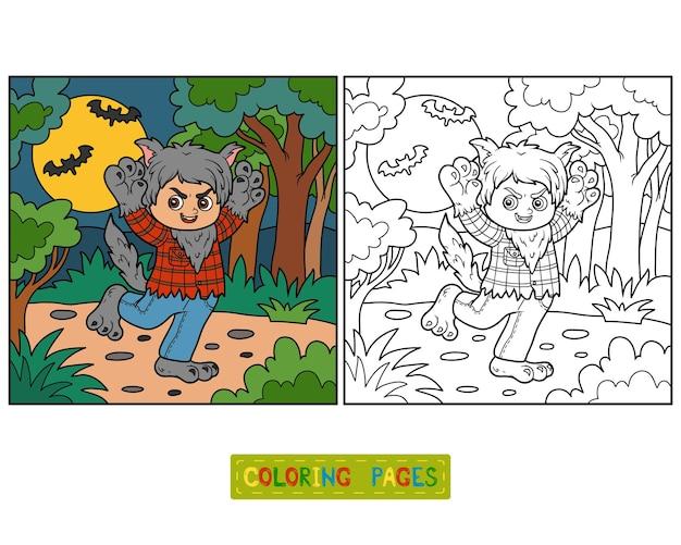 Kleurboek voor kinderen, weerwolf