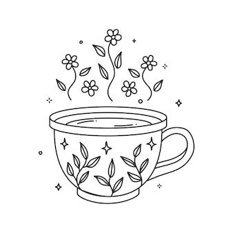 Kleurboekpagina's hygge cups thee of gezellige koffie. mok met bloemmotief en verschillende bloemen planten ornamenten kunst print elementen illustratie.
