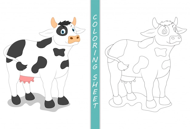 Kleurboekpagina's koe cartoon