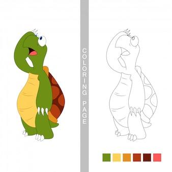 Kleurboekpagina's voor kinderen. cartoon schildpad