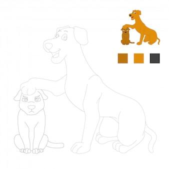 Kleurboekpagina's voor kinderen. honden cartoon