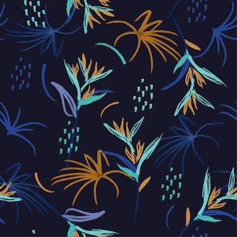 Kleurcontrast hand borstel illustratie naadloze patroon