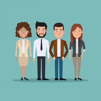 Kleuren achtergrond volledige lichaamsreeks bedrijfsmannen en vrouwen