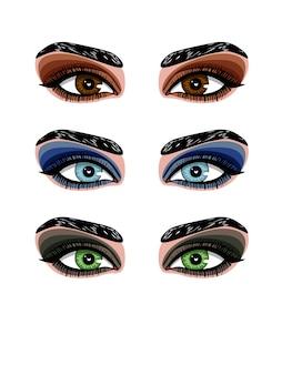 Kleuren afbeelding van oog make-up vrouw. smokey make-up van ogen van verschillende kleuren. set van verschillende soorten schaduwen voor avond make-up
