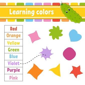 Kleuren leren. onderwijs ontwikkelen werkblad.