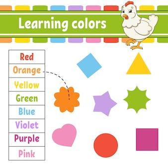 Kleuren leren. onderwijs ontwikkelt werkblad. mooie kip. activiteitenpagina met afbeeldingen.