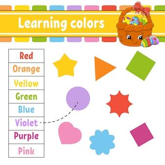Kleuren leren. onderwijs ontwikkelt werkblad. paasmandje. activiteitenpagina met afbeeldingen.
