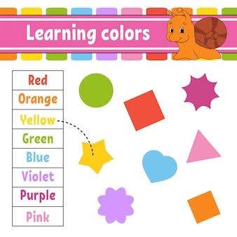 Kleuren leren. onderwijs ontwikkelt werkblad.