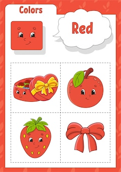 Kleuren leren. rode kleur. flashcard voor kinderen. leuke stripfiguren.