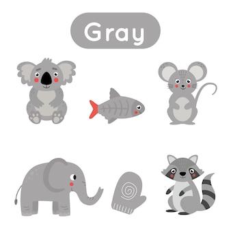 Kleuren leren voor kinderen. grijze kleurenflitskaart. educatief materiaal voor kinderen. set objecten in grijze kleur.