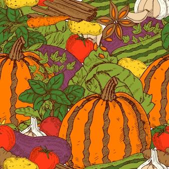 Kleuren naadloos patroon met de auberginekool en de wortelen van de pompoencourgette in de vectorillustratie van de beeldverhaalstijl