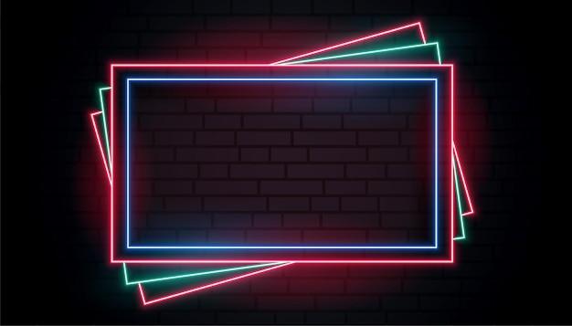 Kleuren neon frame in stapelstijl design